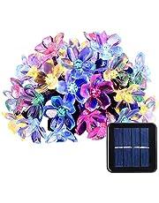 شريط اضواء بشكل ازهار الكرز يعمل بالطاقة الشمسية بطول 7 متر ومزود بـ50 إضاءة ليد مقاوم للماء تستخدم كزينة اضاءة خارج وداخل المنزل وفي الفناء والحديقة والكريسماس ومهرجانات ايام العطلة، متعدد الالوان