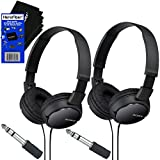 Sony MDRZX110 ZX Series Stereo Headphones (Black) with 3.5mm Mini Plug to 1/4 inch Headphone Adapter & HeroFiber Ultra Gentle Cleaning Cloth (2 Pack)