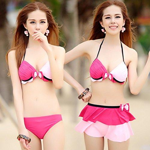 zhangyong * Traje de baño modelo 3pieza Bikini ampio pecho pequeñas partículas de acero y Muelle pecho sexy traje de baño dividido, M, rojo