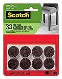 Felt Pads for Chair Legs Scotch Felt Pads, Round, Brown, 1-Inch Diameter, 32 Pads/Pack (SP822-NA)