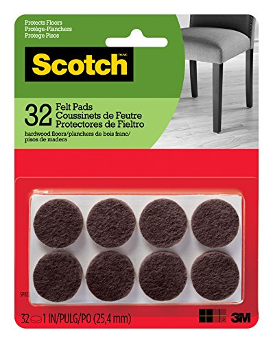 Scotch Felt Pads, 32 Pads/Pack, Round, Brown, 1