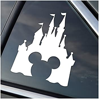 Disney style castle with mickey inspired vinyl car window decal sticker white