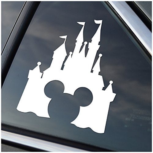 Disney Style Castle with Mickey Inspired Vinyl Car Window Decal Sticker (White) (Decal White Vinyl Sticker)