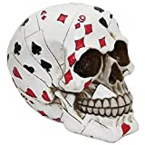 Pacific Trading Macabre Handpainted Playing Card Resin Poker Skull Sculpture