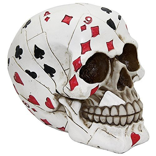 - Pacific Trading Macabre Handpainted Playing Card Resin Poker Skull Sculpture