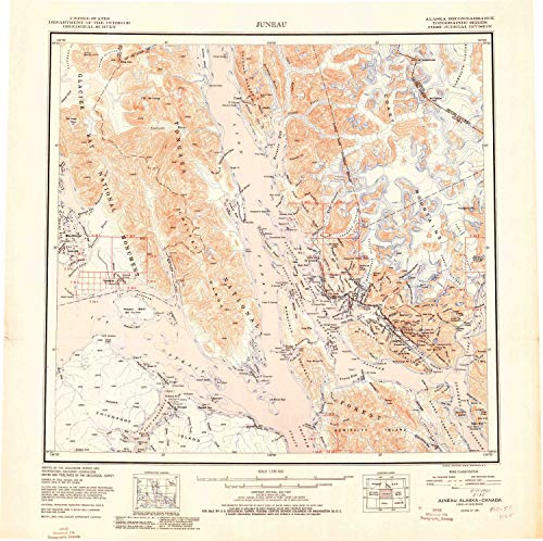 YellowMaps Juneau AK topo map, 1:250000 Scale, 1 X 2 Degree, Historical, 1951, 23.2 x 23.3 in - Polypropylene -