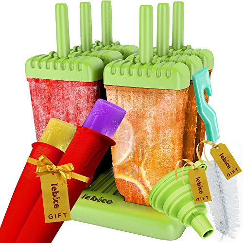 Lebice Popsicle Molds BPA Free 6 Ice Pop Makers with Ice Cream Recipes E-book + 2 silicon molds!