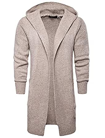 Amazon.com: DGMJ Hooded Long Mens Knitted Cardigan
