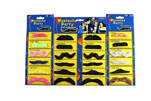 [Fake Mustache by Jmean Novelty and Toy, Pack of 24 Mustaches] (Funny 2 People Costume)