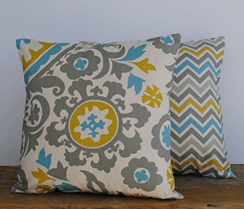 One blue green grey floral medallion pillow cover, 16x16, cushion, decorative throw pillow, decorative pillow, accent pillow, pillow case