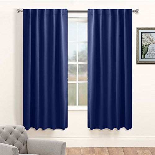 Blue  Inch Rod Pocket Room Darkening Window Curtain