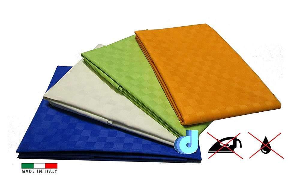 Arancio Tovaglia tavola antimacchia no stiro idrorepellente in tessuto arancio verde blu bianco panna
