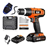 Power Drill - 20V Cordless Drill Set with 2*2.0Ah Lithium-Ion Battery, 1 Hr Fast Charger, 27pcs Accessories Compact Case, Magnetic Flexible Shaft, Electric Drill Max Torque 33N.m 21+1 Torque Setting