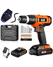 """Cordless Drill Driver LOMVUM 20V Power Drill with Lithium Ion Batteries, 1 Faster Charger, 2-Speed 3/8"""" Keyless Chuck, Magnetic Flexible Shaft,LED, Waist Bag, Compact Case, Extra 46pcs Accessories"""