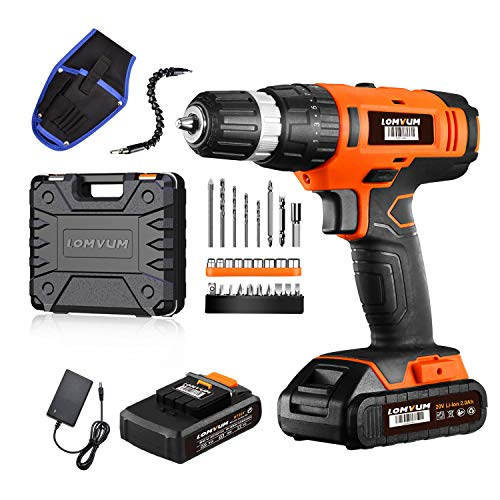 Cordless Drill Driver LOMVUM 20V Power Drill with 2 Lithium Batteries, 1 Faster Charger, 2-Speed 3/8″ Keyless Chuck, Magnetic Flexible Shaft,LED, Waist Bag, Compact Case, Extra 46pcs Accessories