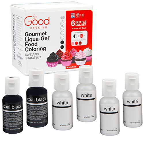 """Price comparison product image Food Coloring Liqua-Gel - 6 Bottle Black and White """"Shade and Tint Kit"""" Liqua-Gel Kit in .75 fl. oz. (20ml) Bottles"""