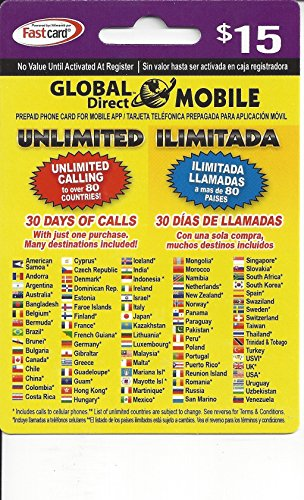 $15 Global Direct Unlimited Phone Calling Card for Cheapest USA & International and Domestic Long Distance Calls for 30 Days. by Global Direct