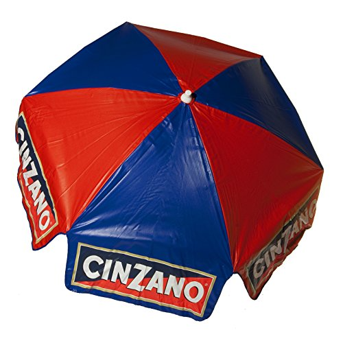 Heininger 1379 Cinzano Red and Blue 6' Beach Pole Vinyl Umbrella