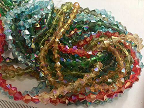 Ab Glass Necklace (JUSTGIFTGEM 800+ Assorted Colour 10 strand 6mm Faceted Bicone AB Glass Beads bulk lot beads mixed beads Strand For Jewellry Making DIY Wholesales beads)