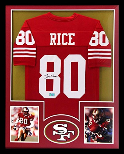 Signed Jerry Rice Jersey - Framed Custom Red - Autographed NFL - Signed Jersey Jerry Rice