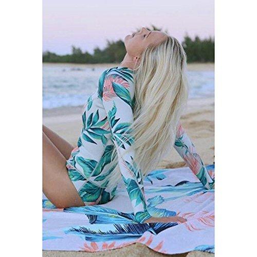 da Desshok Bagno Donna Bikini zip Swimsuit Push da Costume Lunga Swimwear up Colore01 Beachwear Bohemian Mare Costume Manica v1rBwEx1qf