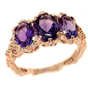 Victorian Design Solid English Rose 9K Gold Natural 2.6ct Amethyst Ring - Size 12 - Sizes 5 to 12 Available