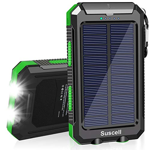 Solar Charger, Suscell 20000mAh Portable Solar Power Bank for Cell Phone, Dual 5V/2.1A USB Ports Output and 2 Led Flashlight, Perfect for Outdoor Trip/Emergency