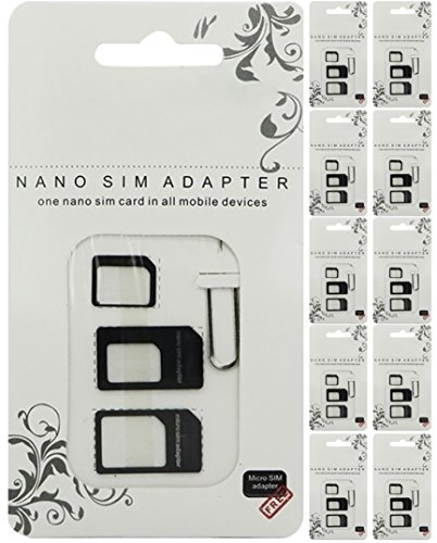 4-in-1 SIM Card Adapter Set, Convert Nano to Micro or Standard, Wholesale, 10-PACK (Black) (Sim Card Icon)