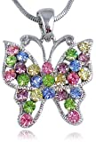 Pretty Multicolor Pink, Blue, Green, Purple Crystal Butterfly Silver Tone Necklace for Girls and Teens