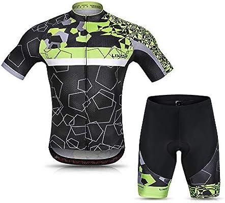 Lixada Maillot Ciclismo Hombre Verano Respirable Secado Rápido Camisa de Manga Corta y Pantalones Cortos de Gel Acolchado: Amazon.es: Deportes y aire libre