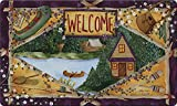 Toland Home Garden Lakeside Welcome 18 x 30 Inch Decorative Floor Mat Outdoors Fishing Lake Cabin Doormat