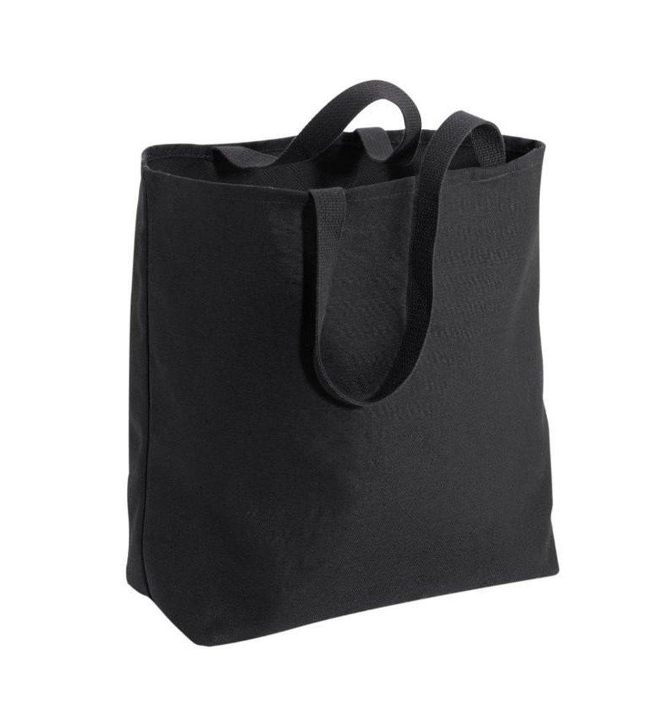 Large Cotton Twill Grocery Toteバッグ L ブラック B07CYR2FRF ブラック|1 ブラック