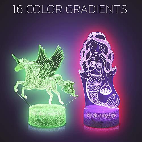 Price comparison product image 3D Unicorn Illusion Night Light by LyghtzOn / LED Optical Illusion Lamp with Extra Interchangeable Mermaid Pattern / Remote + USB Powered Bonus 1 Two Unicorn Bracelets Bonus 2 Beautiful Gift Card
