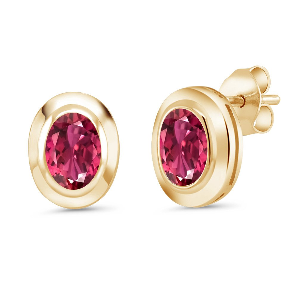1.40 Ct Oval 7x5mm Pink Tourmaline 18K Yellow Gold Plated Silver Stud Earrings