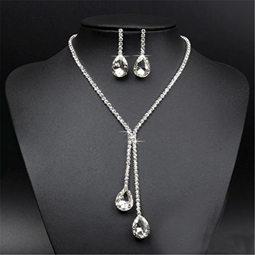 [MEXUD Silver Jewelry Crystal Rhinestone Necklace Earring Set For Vogue Prom Wedding Bridal (12#)] (Affordable Costumes)