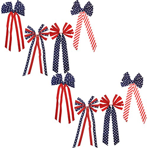 Black Duck Brand Set of 8 American Flag Patriotic Fourth of July Memorial Day Red White and Blue Striped Stars 26
