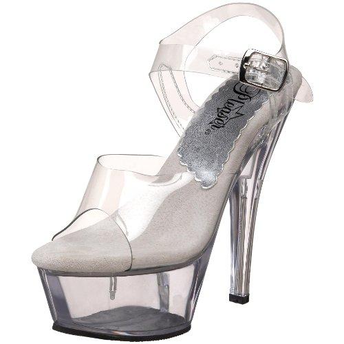 Pleaser Women's Kiss-208 Platform Sandal Clear b0tDMMloQf