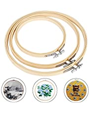 Siumir Embroidery Hoops Wooden Hoop Rings Adjustable Cross Stitch Hoops Round Embroidery Hoops 13 cm, 17 cm, 20 cm for DIY Art Craft Sewing (3 pcs)
