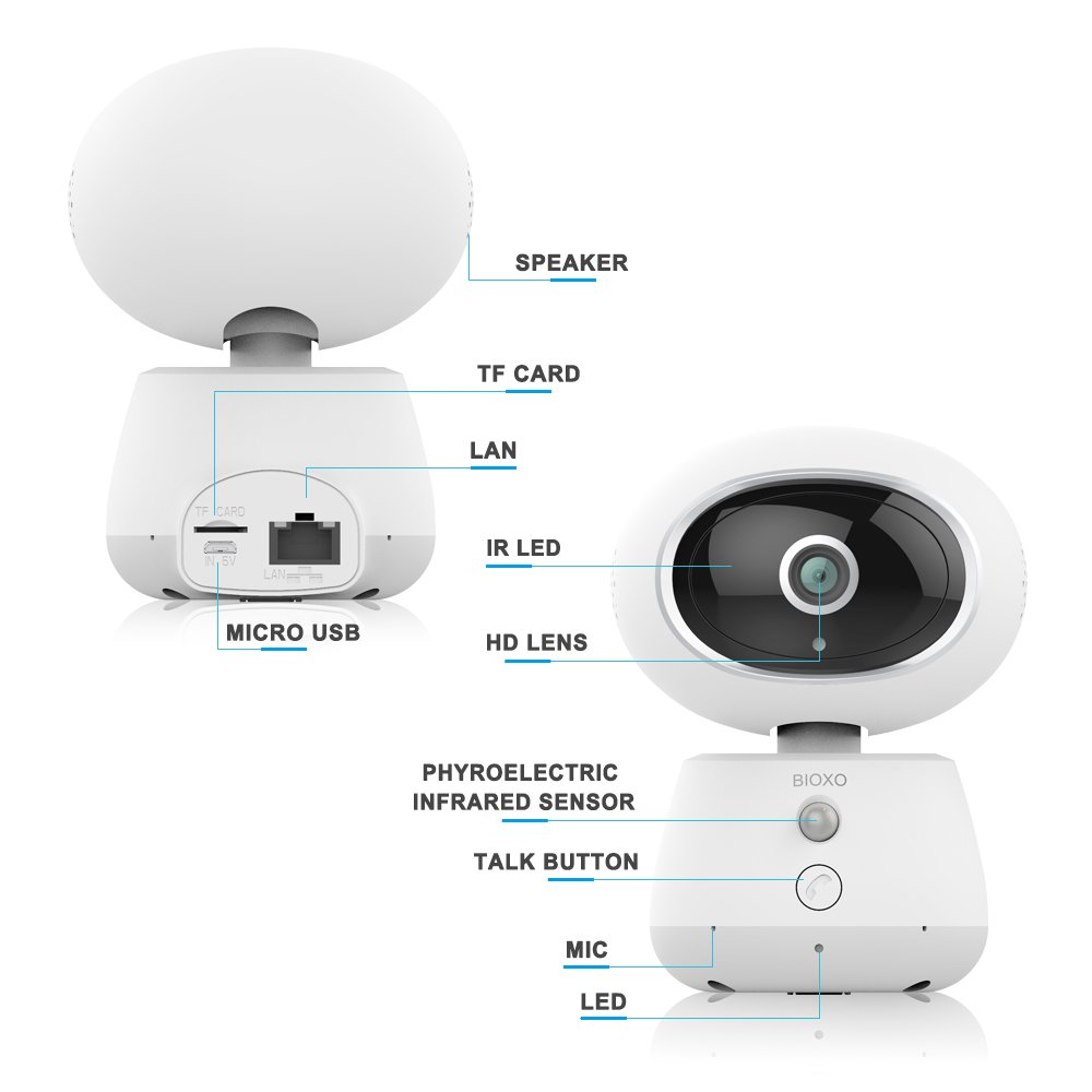 Bioxo 1080P WiFi Pan//Tilt//Zoom Home Security Camera with Night Vision//Two-Way Audio Dog//Cat Camera Surveillance Pet Camera with Cloud Storage Baby Monitor Wireless Camera