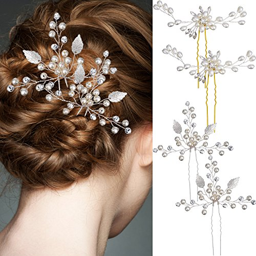 Jetec 4 Pieces Sliver Bridal Hair Pin Set Wedding Leaf Hair Pin and Elegant Ladies Pearl Rhinestone Hair Clip Wedding Bridal Jewelery Hair Accessories for Women and Girls
