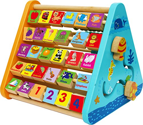 Toys of Wood Oxford Wooden Activity Centre -wooden activity toys with alphabet blocks and abacus-early learning centre baby toys