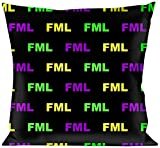 Buckle Down Throw Pillow-FML Black/Yellow/Green/Purple, FML Quote