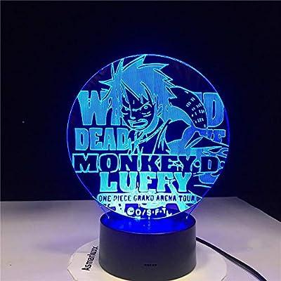 KangYD Anime Luffy 3D LED Vision Night Light, Lámpara de mesa USB ...