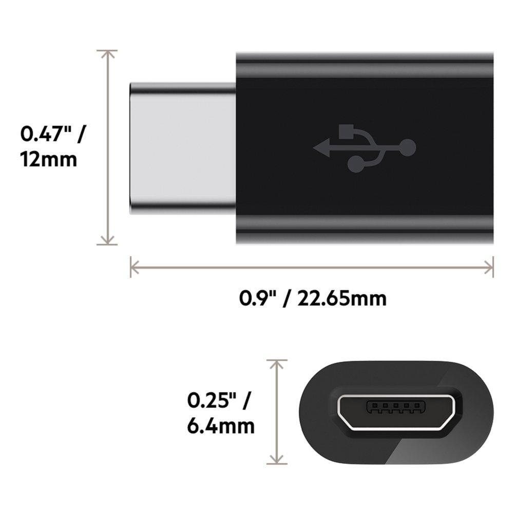 Belkin Adaptateur USB-C 2.0 vers Micro-USB Noir Compatible Samsung Galaxy S9//S9+//Note 9 12 Watts