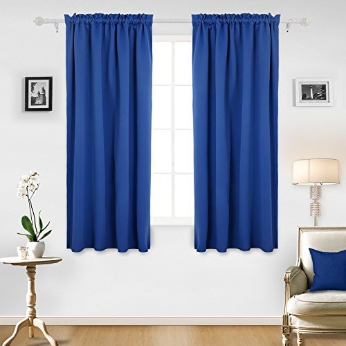 Deconovo Thermal Insulated Room Darkening Curtains Rod Pocket Blackout Curtain Panel for Bedroom 42W x 63L Inch Royal Blue Set of 2