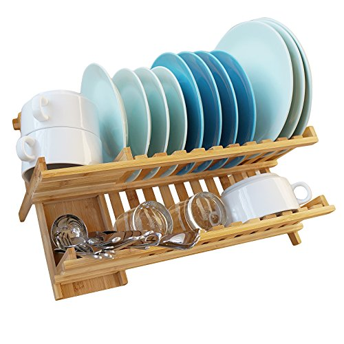 WELLAND Bamboo Dish Rack Drying Bamboo Dish Drainer Folding Countertop 2 Tier Wooden Utensil Dryer Wooden Dish Rack