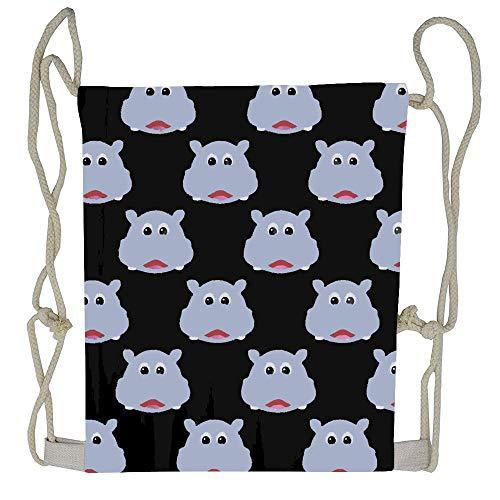 AoshangGardeflag Cute Hippo Beutiful Prints Packable Print Drawstring Bags Travel Backpack Bags For Gift