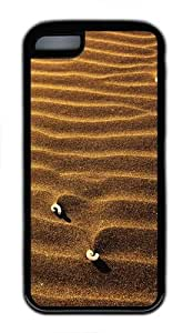 Sand ripples TPU Silicone Rubber Case Cover for iPhone 5C - Black