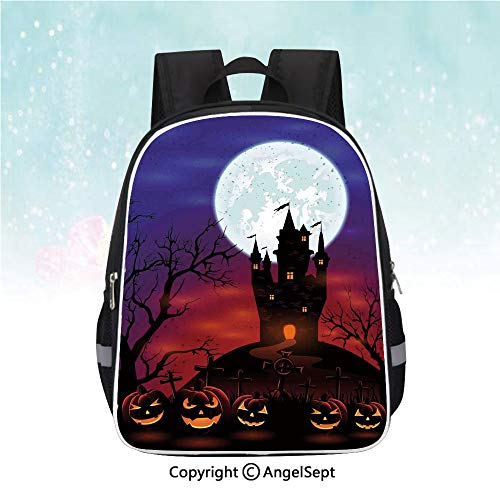 Nylon Fabric Backpack,Gothic Haunted House Castle Hill Valley