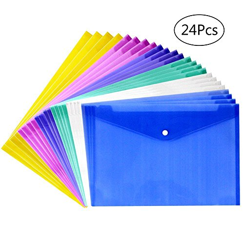 (JUSLIN Poly Envelope Folder with Snap Button Closure, 24PCS Waterproof Transparent Project Envelope Folder, A4 Letter Size)